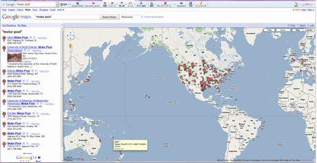 """図2 """"motor pool""""の世界地図(Googleマップによる)"""