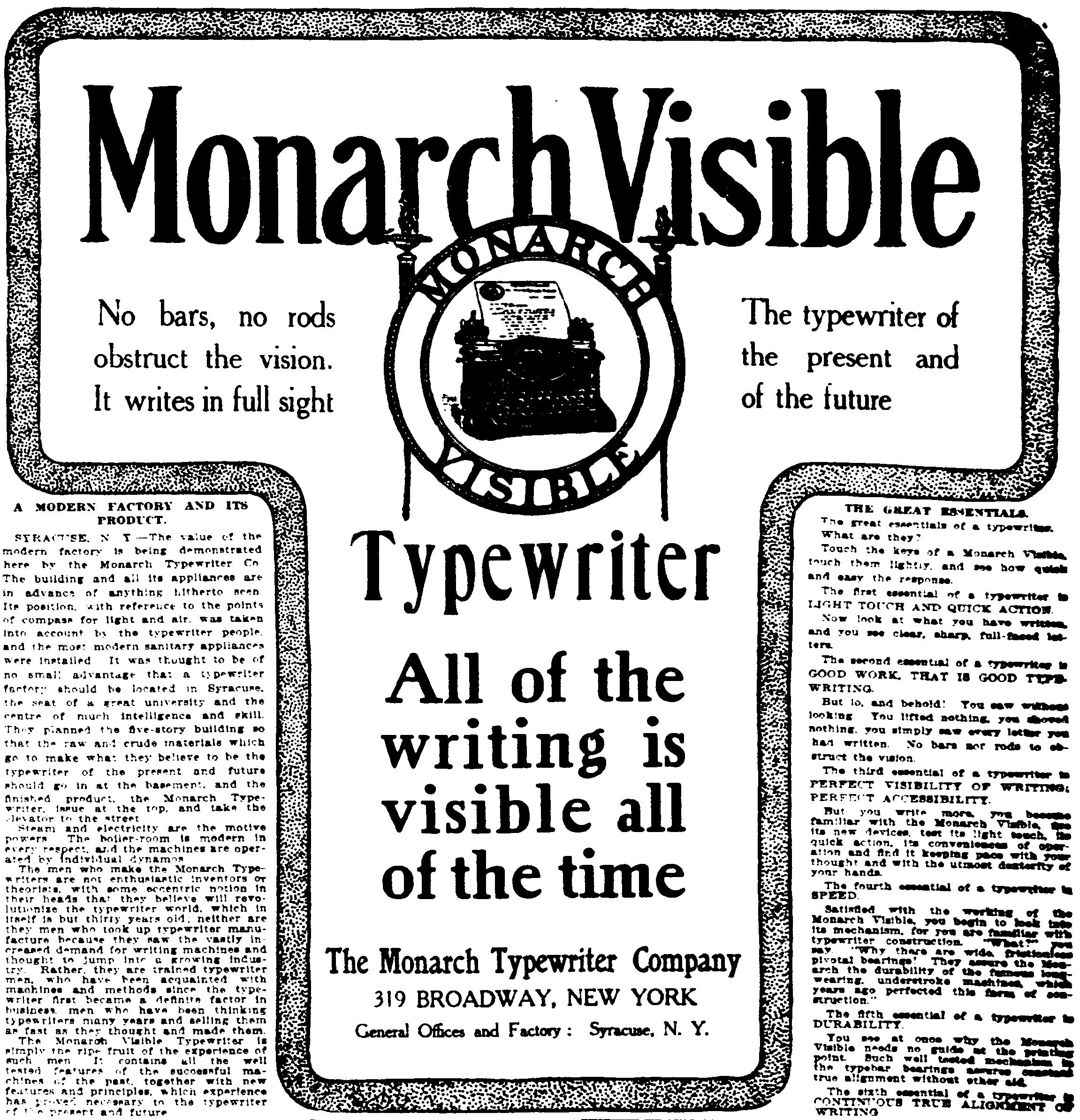 「Monarch Visible」の広告(『New-York Tribune』1905年1月23日)