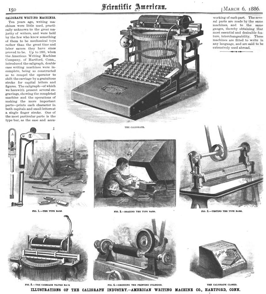 ハートフォードに移転したアメリカン・ライティング・マシン社(『Scientific American』誌1886年3月6日号)
