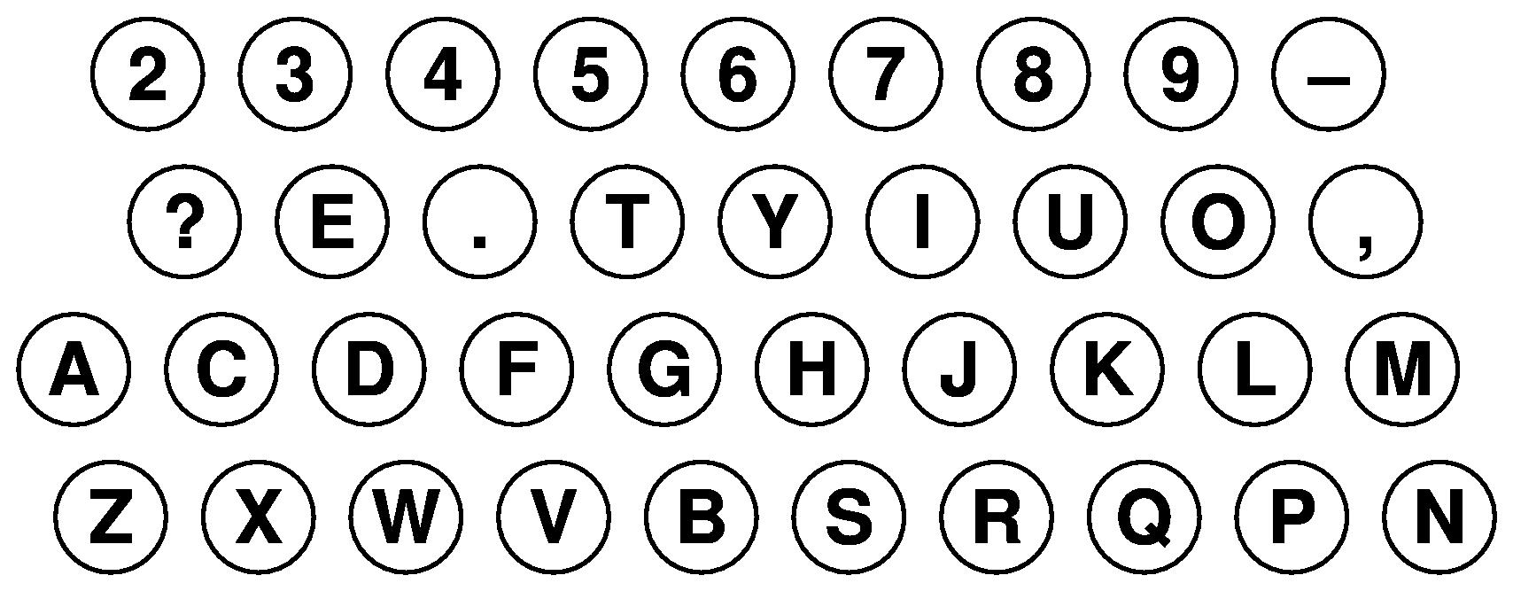 1871年9月時点のキー配列(推定)