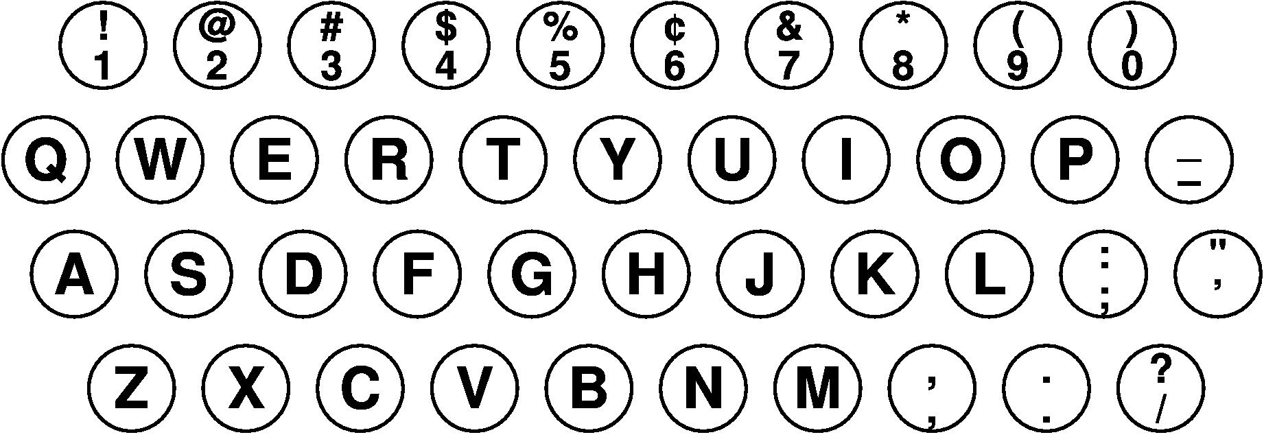 1934年2月時点の「IBM Electromatic」のキー配列
