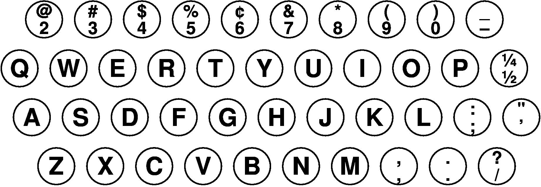 1938年1月時点の「IBM Electromatic」のキー配列