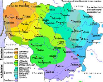 【図1】リトアニア語の方言区画 Lithuanian Dialects